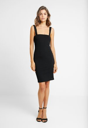 SQUARE NECK STRAPPY DRESS - Pouzdrové šaty - black