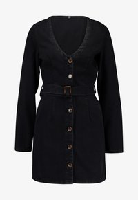 Missguided - BUTTON LONG SLEEVE BELTED DRESS - Vestito di jeans - black - 4