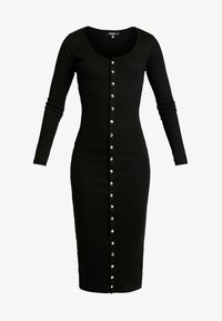 Missguided - LONG SLEEVE POPPER MIDI DRESS - Shift dress - black - 5