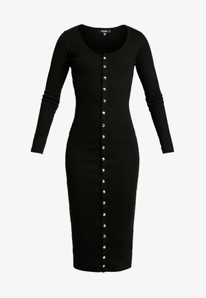 LONG SLEEVE POPPER MIDI DRESS - Fodralklänning - black