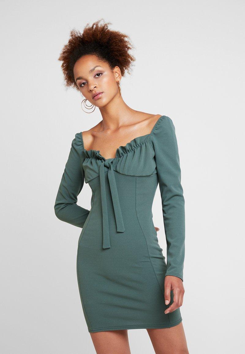 Missguided - MILKMAID TIE FRONT MINI DRESS - Tubino - green
