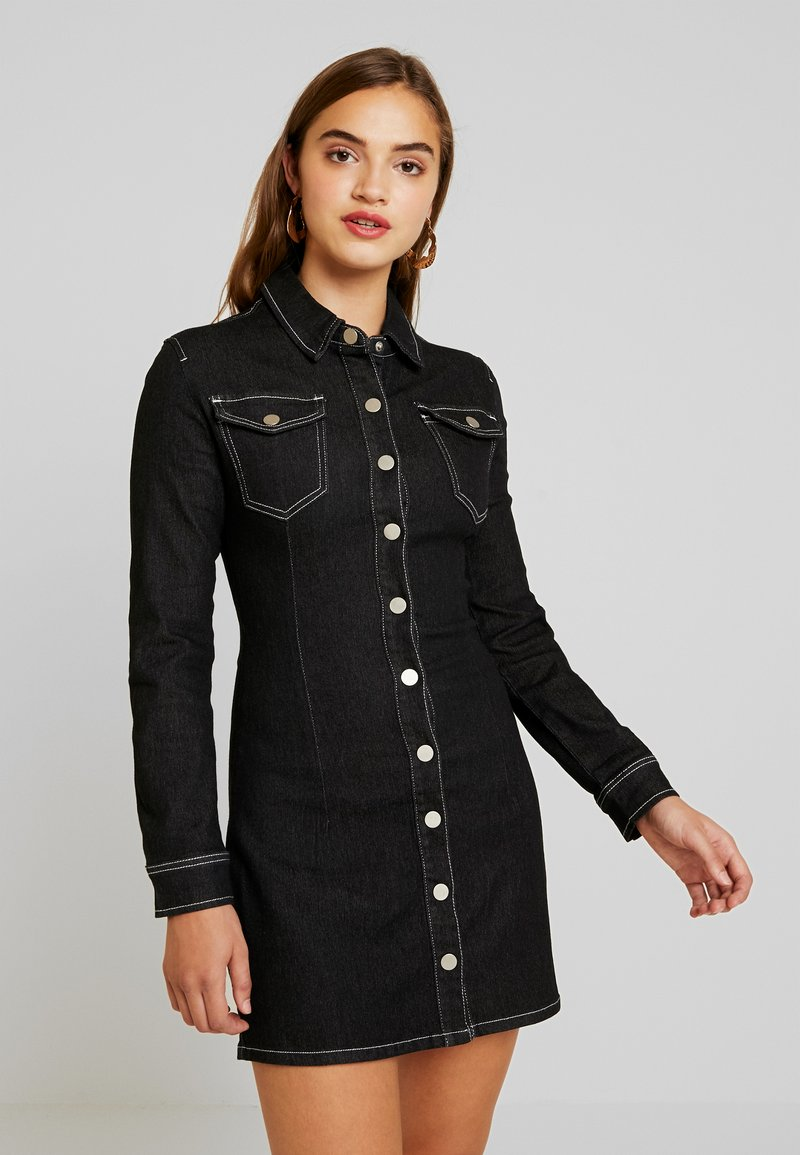 Missguided - LONG SLEEVE BUTTON THROUGH DRESS - Jeanskleid - black