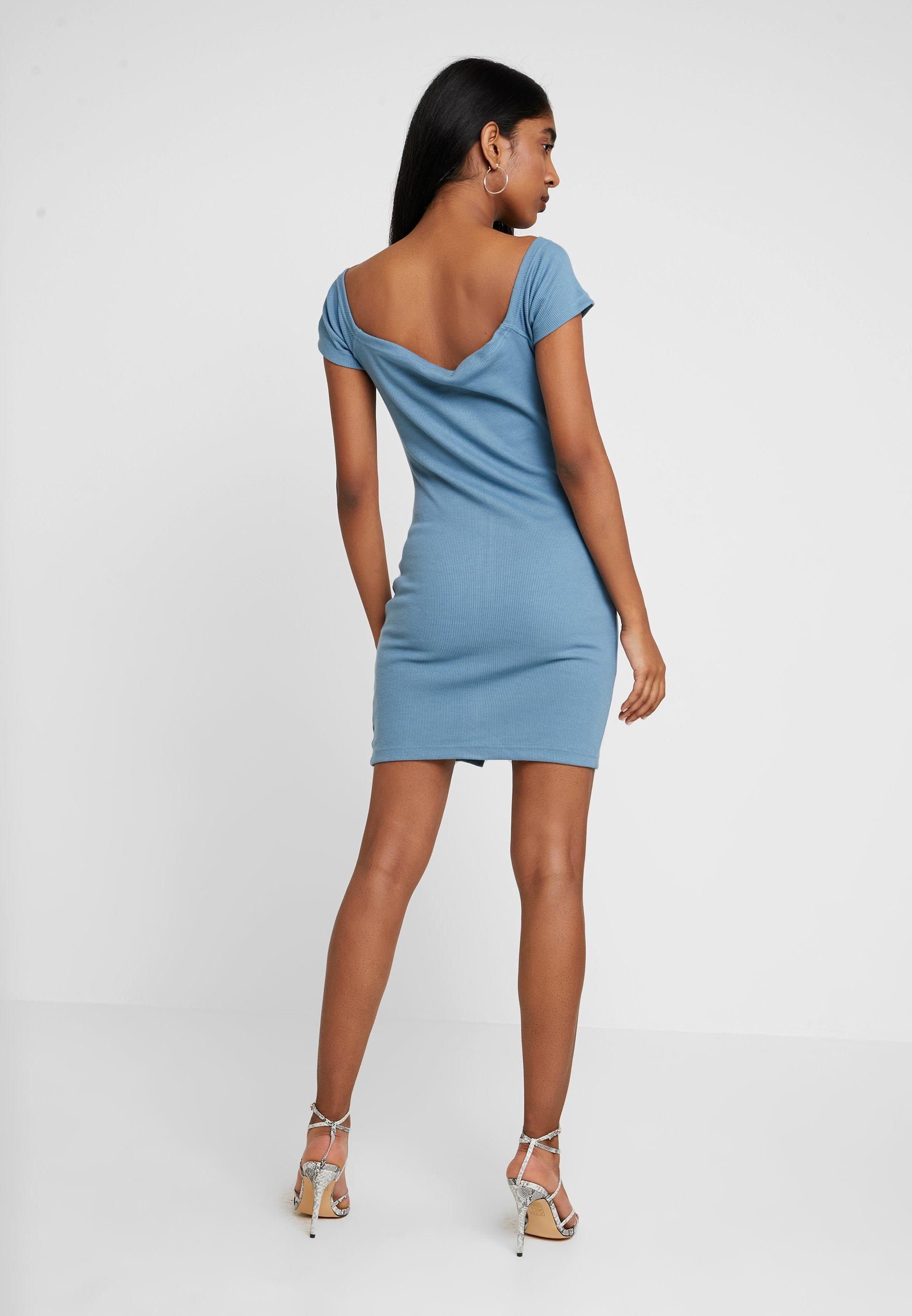 DressRobe Popper Detail Bardot Missguided Bodycon D'été Blue htsQrd