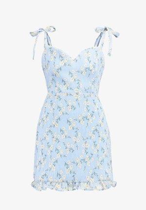 FLORAL TIE SHOULDER MINI DRESS - Robe de soirée - blue