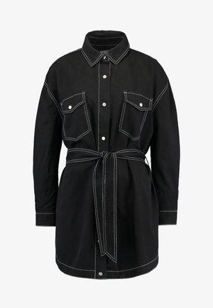 BELTED CONTRAST STITCH - Skjortekjole - black