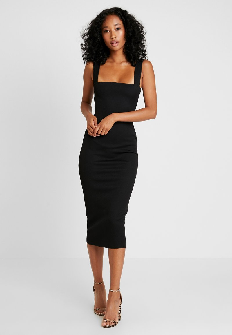 Missguided - SQUARE NECK DRESS - Kotelomekko - black