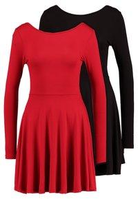Missguided - 2 PACK SCOOP BACK SKATER MINI DRESS  - Jerseykjoler - red/black - 0