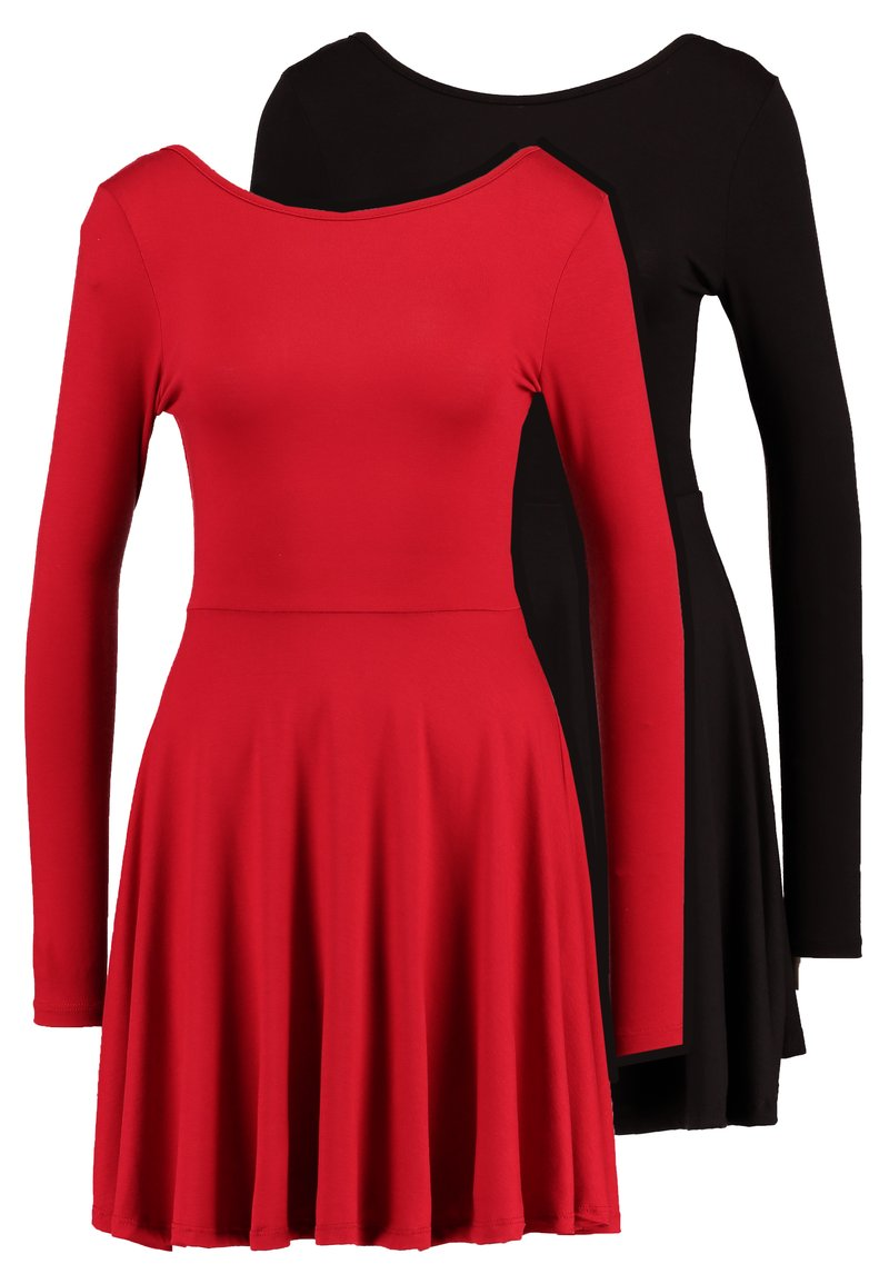 Missguided - 2 PACK SCOOP BACK SKATER MINI DRESS  - Jerseykjoler - red/black