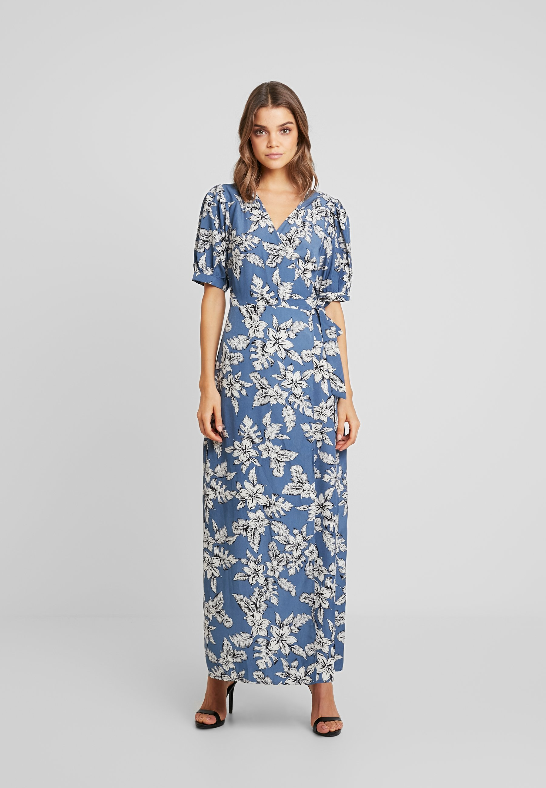 Missguided PURPOSEFUL FLORAL PUFF SLEEVES WRAP DRESS - Robe longue blue