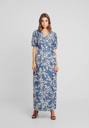 PURPOSEFUL FLORAL PUFF SLEEVES WRAP DRESS - Maxi dress - blue