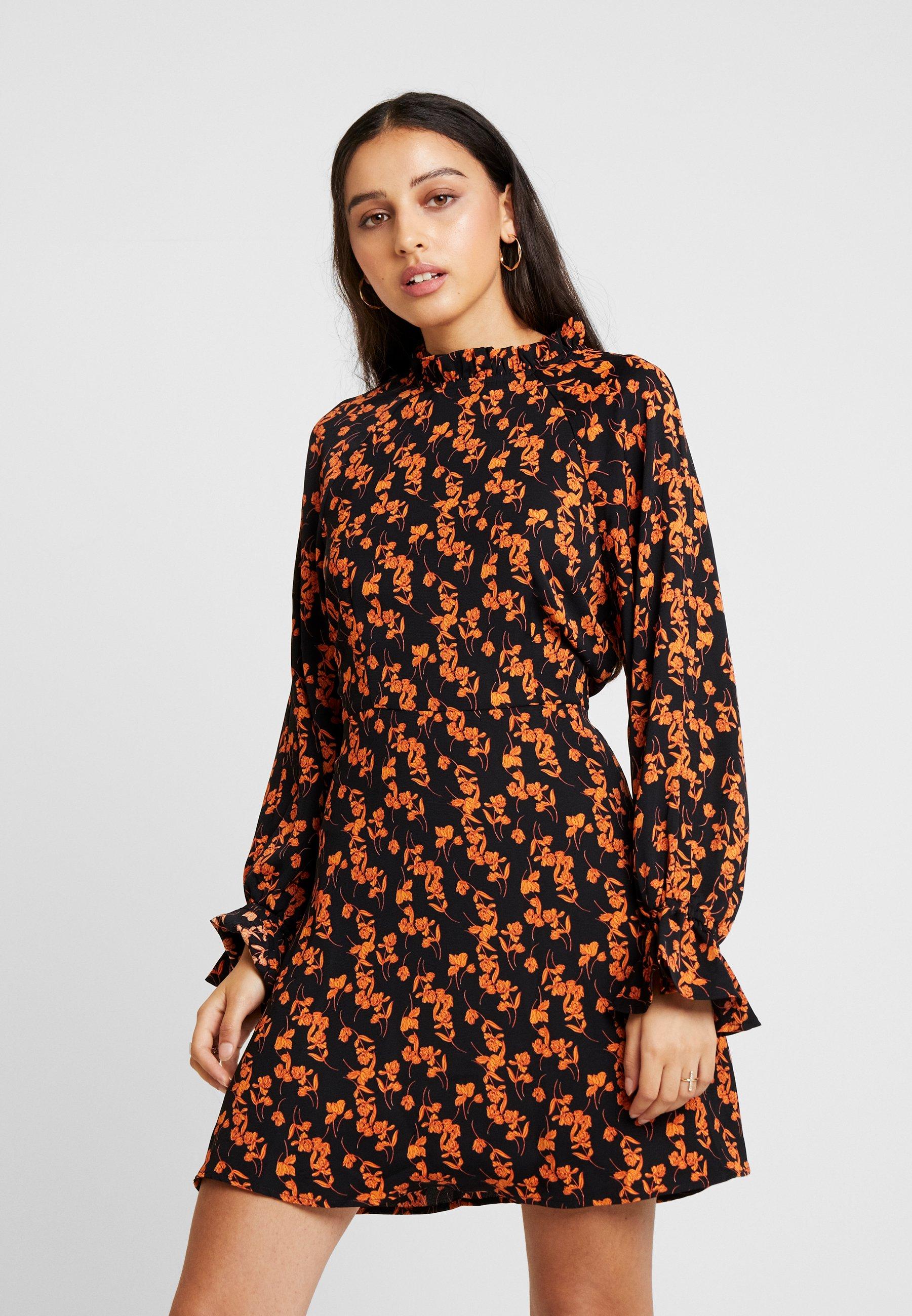 Sleeves Missguided Black Purposeful Flared D'été Floral DressRobe Mini 354cRjAqL