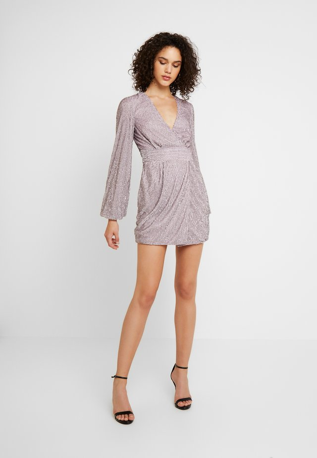 EMBELLISHED WRAP TIE DETAIL BLOUSON SLEEVE MINI DRESS - Cocktail dress / Party dress - lilac