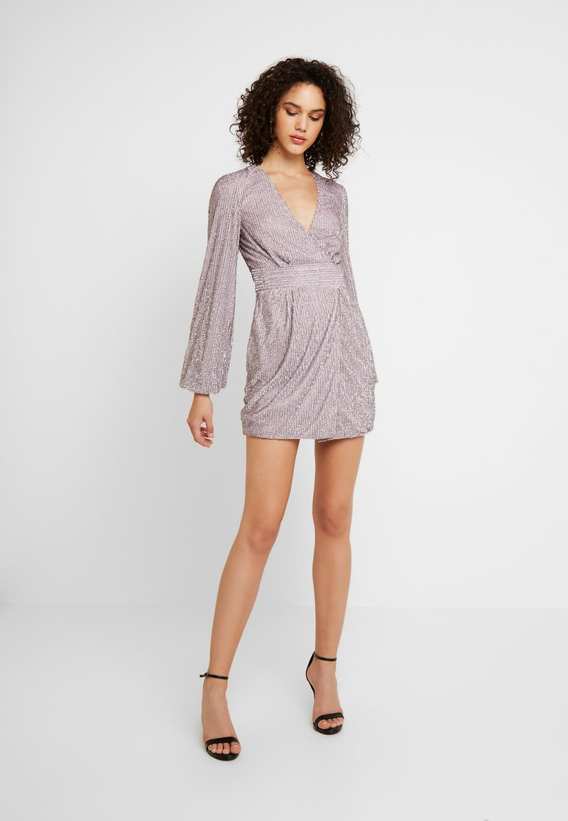Missguided - EMBELLISHED WRAP TIE DETAIL BLOUSON SLEEVE MINI DRESS - Cocktail dress / Party dress - lilac