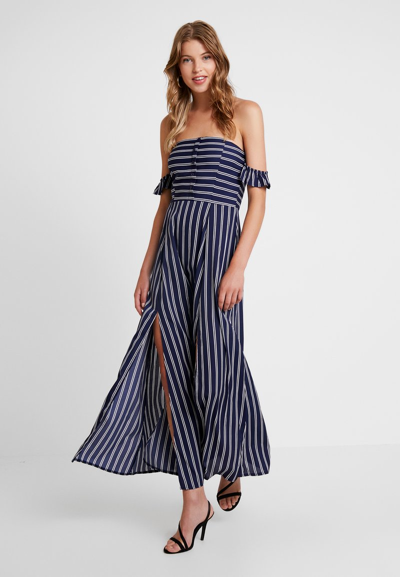 Missguided - BARDOT BUTTON DOWN DRESS STRIPE - Maxikleid - navy