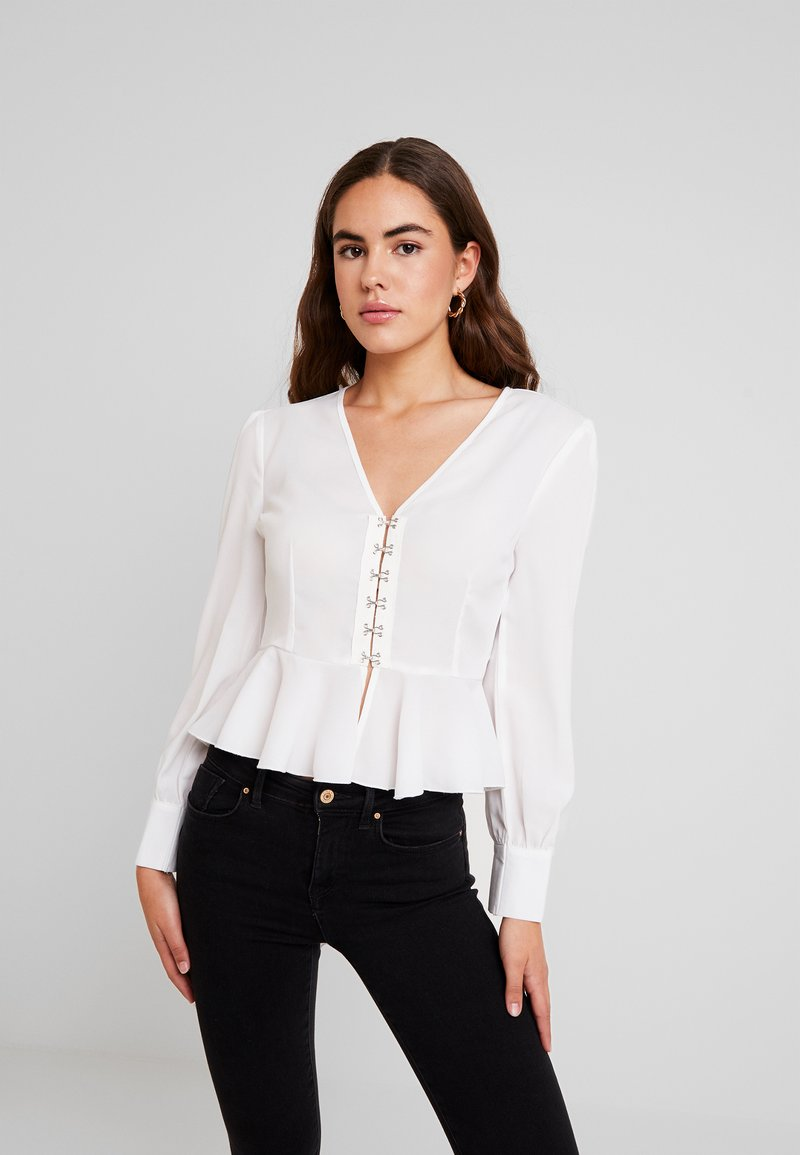 Missguided - HOOK AND EYE PEPLUM LONG SLEEVED - Blouse - white