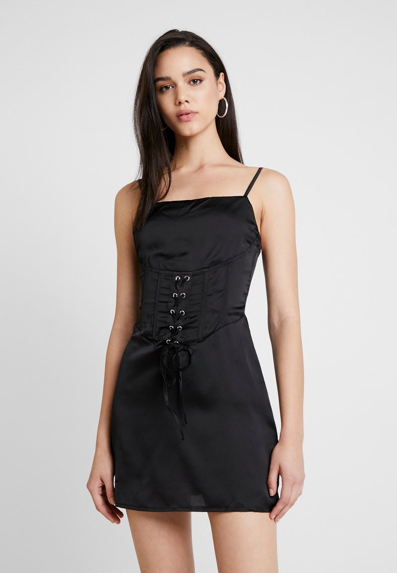 Missguided - CAMI CORSET WAIST DRESS - Freizeitkleid - black