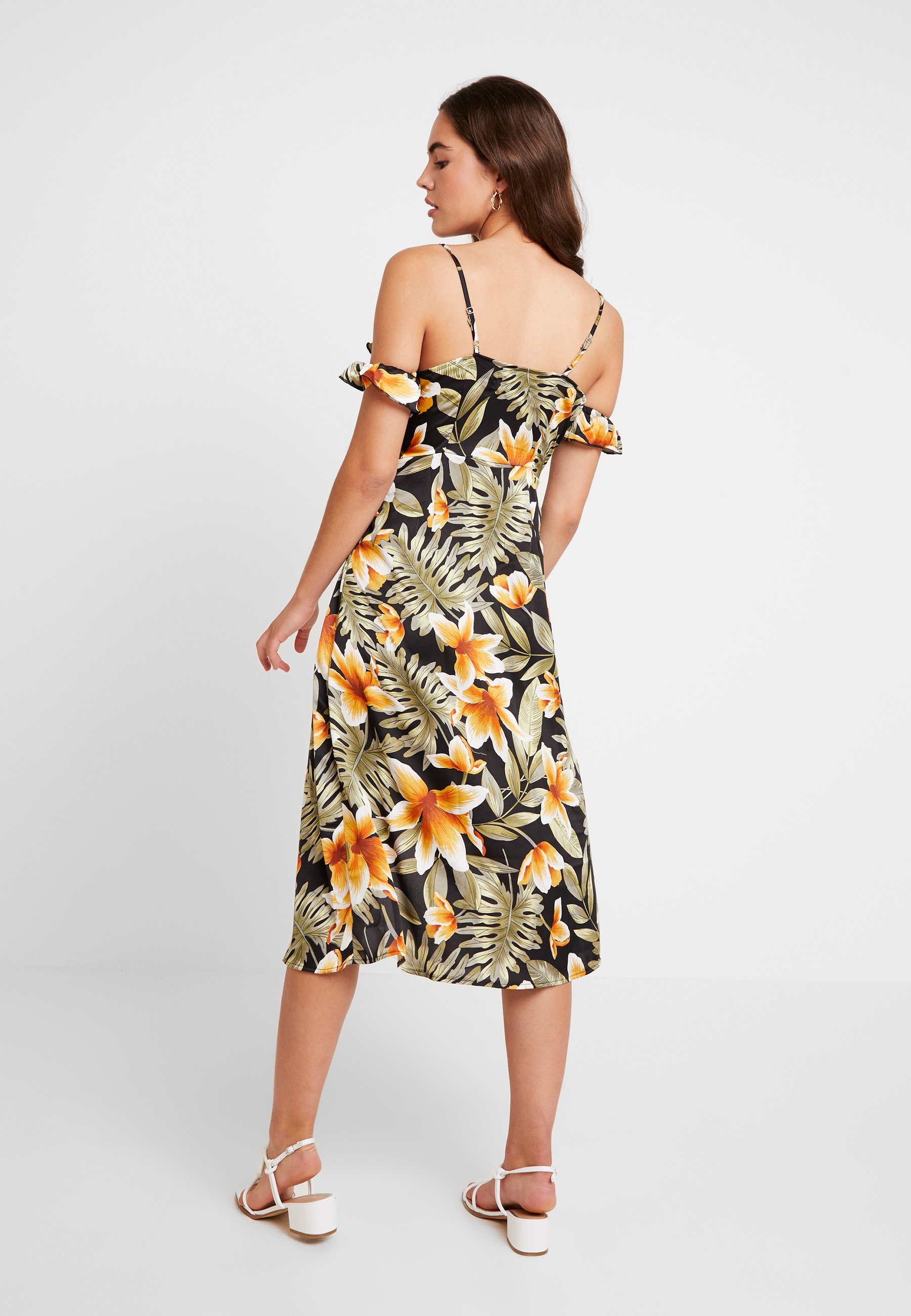Missguided Midi FloralRobe Frill Dress Shoulder Black Cold Tea D'été gyf7Yb6v