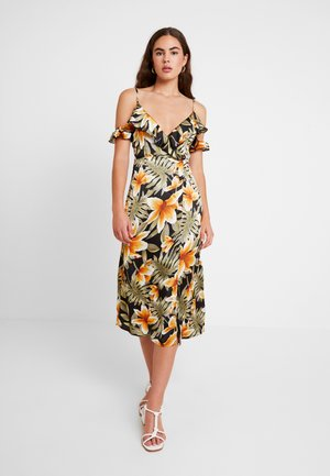 COLD SHOULDER FRILL MIDI TEA DRESS FLORAL - Denní šaty - black