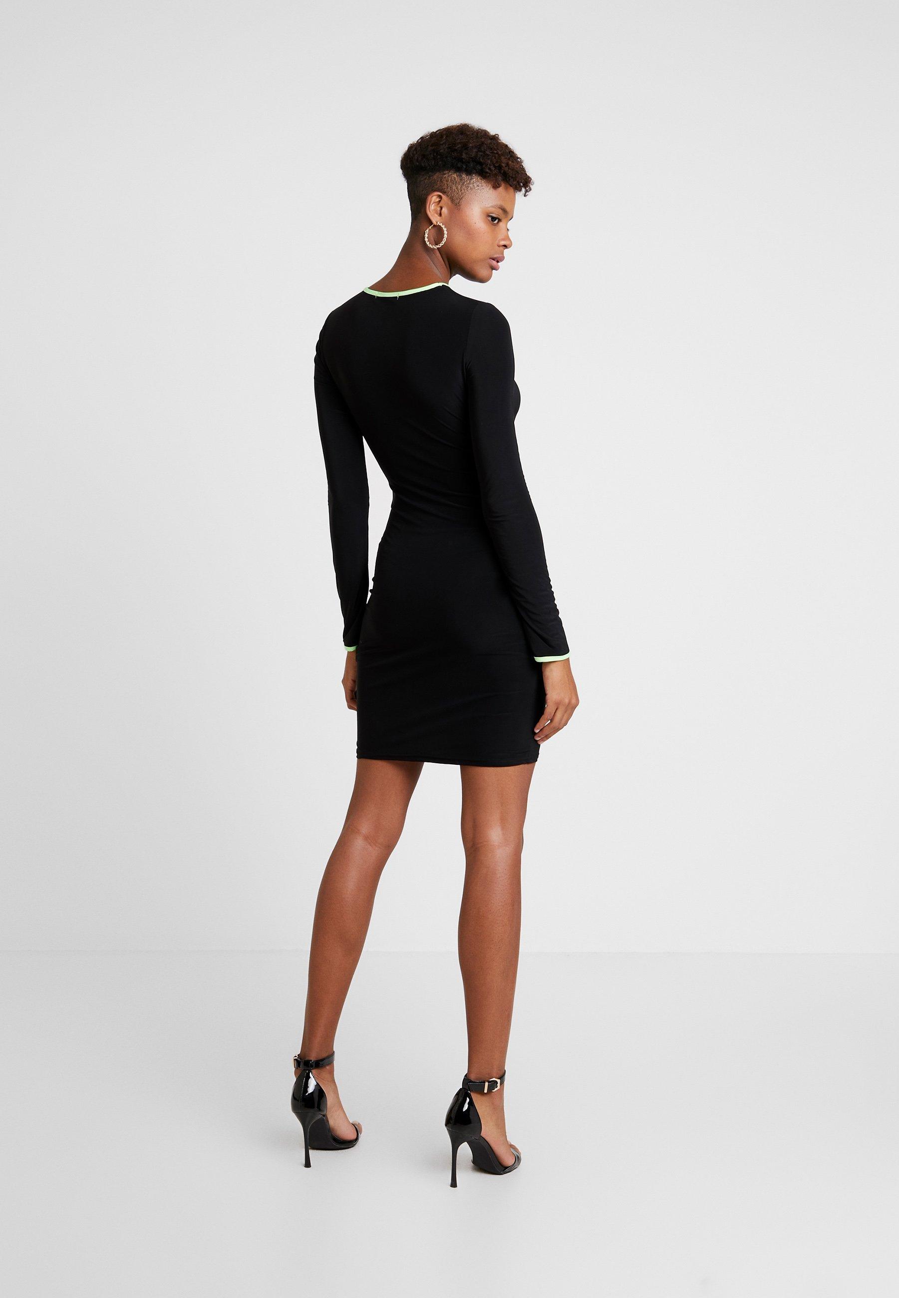 Missguided Mini Out Cut DressRobe Black Piping Jersey Slinky En O8nXPwk0