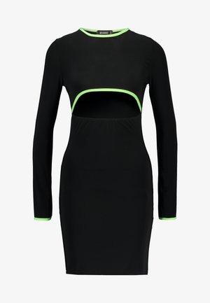 PIPING CUT OUT SLINKY MINI DRESS - Žerzejové šaty - black