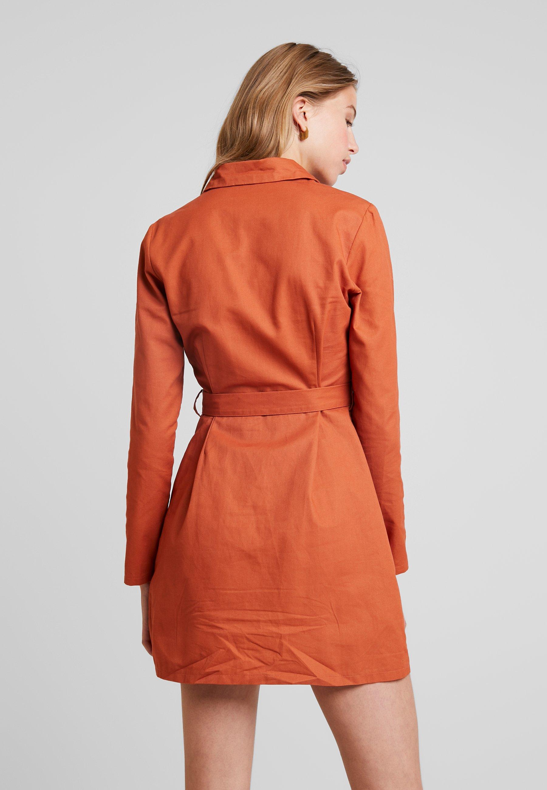 Missguided Belted Chemise Sleeve DressRobe Utility Long Rust bfyYg76v