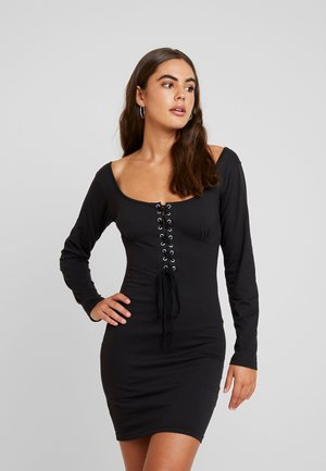ROPE SCOOP NECK MINI DRESS - Robe d'été - black