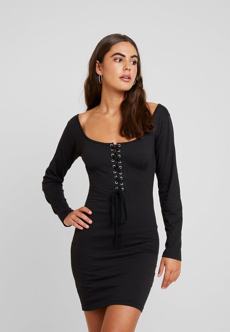 Missguided - ROPE SCOOP NECK MINI DRESS - Freizeitkleid - black