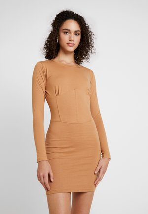 PANELLED CORSET STYLE BODYCON MINI DRESS - Kotelomekko - camel