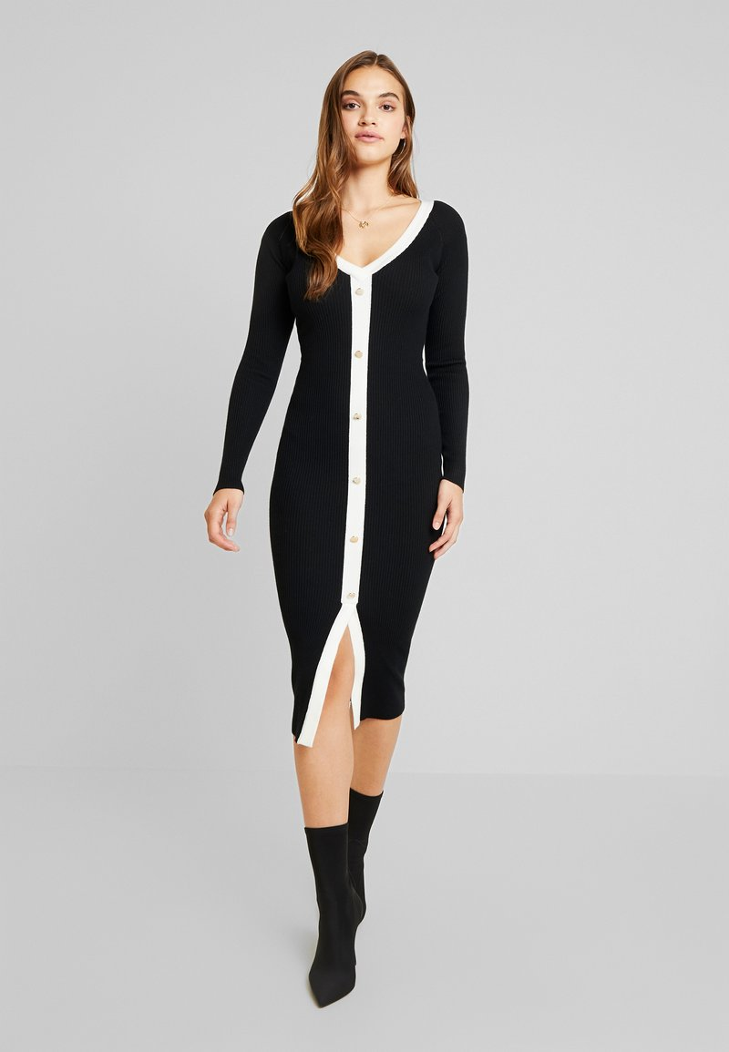Missguided - BUTTON THROUGH CARDI DRESS - Vestido de punto - black