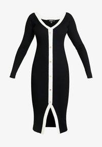 Missguided - BUTTON THROUGH CARDI DRESS - Vestido de punto - black - 3