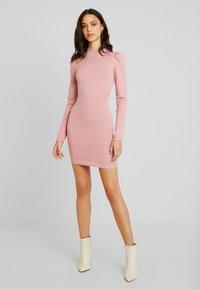 Missguided - PUFF SLEEVE MINI DRESS - Gebreide jurk - pink - 2