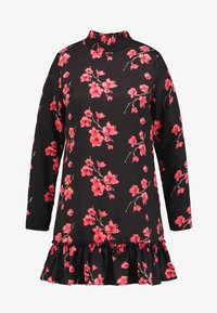 Missguided - HIGH NECK FRILL HEM DRESS FLORAL - Robe d'été - black - 5