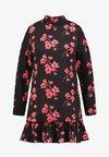 Missguided - HIGH NECK FRILL HEM DRESS FLORAL - Korte jurk - black