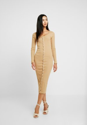 LONG SLEEVE POPPER MIDI DRESS - Shift dress - beige