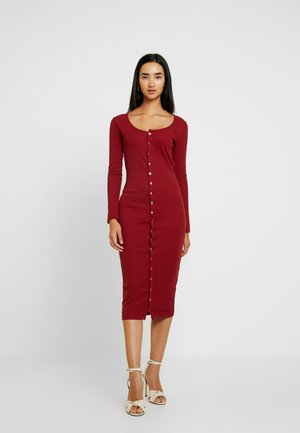 LONG SLEEVE POPPER MIDI DRESS - Vestido de tubo - burgundy