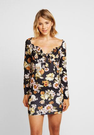 PRINTED MILKMAID TIE FRONT MINI DRESS - Robe fourreau - multi