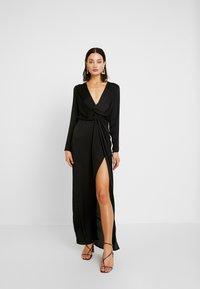 Missguided - LONG SLEEVE TWIST WRAP DRESS - Vestido largo - black - 0