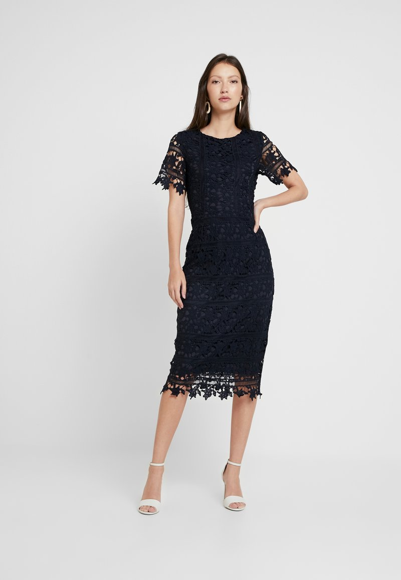 Missguided - CROCHET OPEN BACK MIDI DRESS - Cocktailkleid/festliches Kleid - dark blue