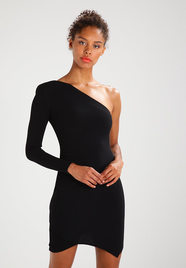 Missguided - ONE SHOULDER BODYCON DRESS - Jersey dress - black