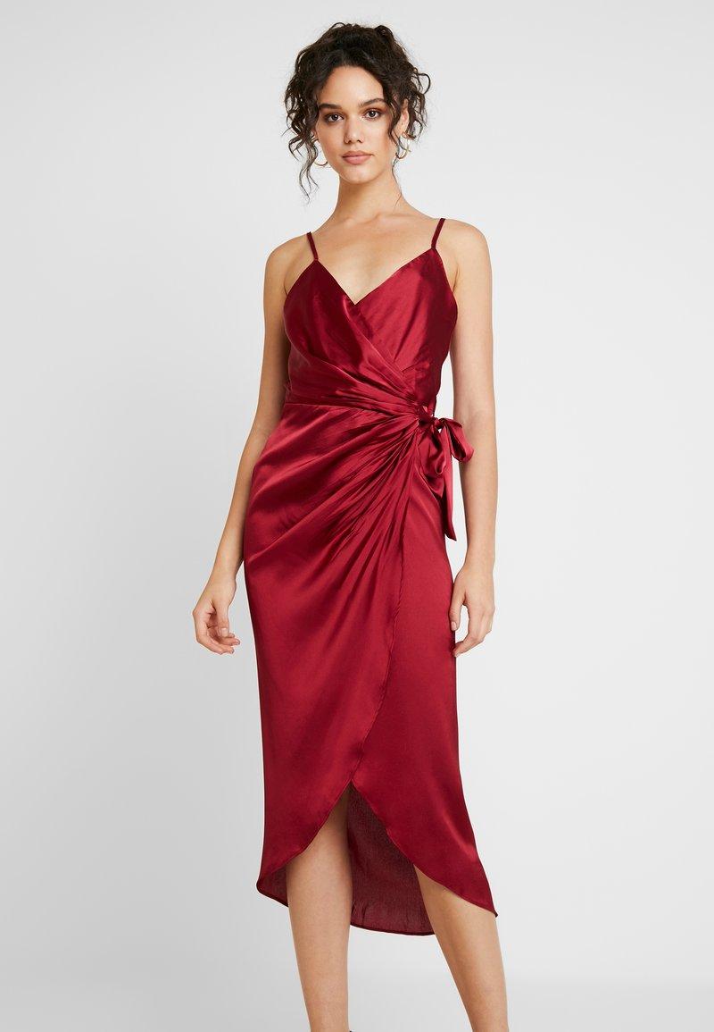 Missguided - WRAP FRONT SPLIT MIDAXI DRESS - Cocktail dress / Party dress - burgundy