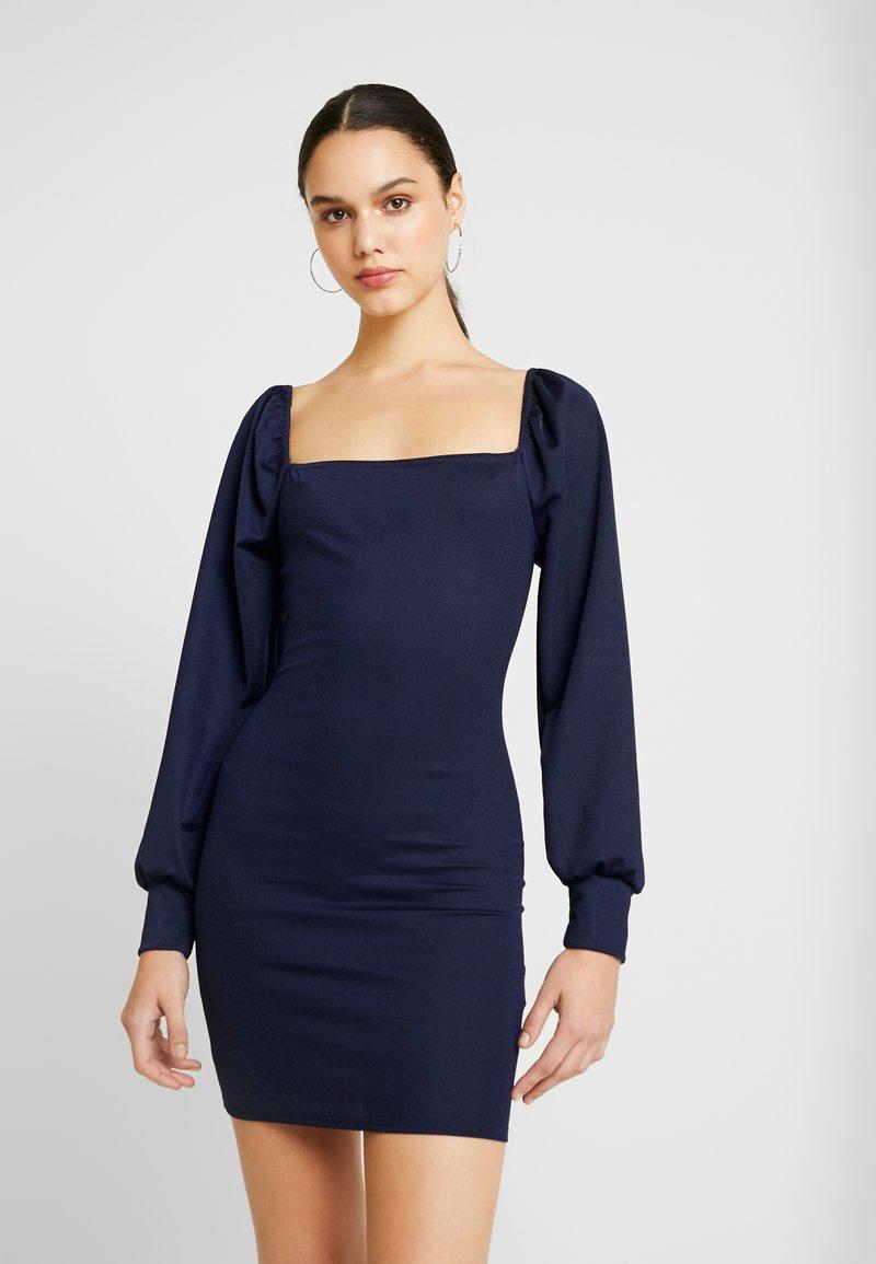 Missguided - SQUARE NECK BALLOON SLEEVE MINI DRESS - Vestido de tubo - dark blue