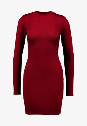 HIGH NECK LONG SLEEVE MINI DRESS - Fodralklänning - sun dried tomato