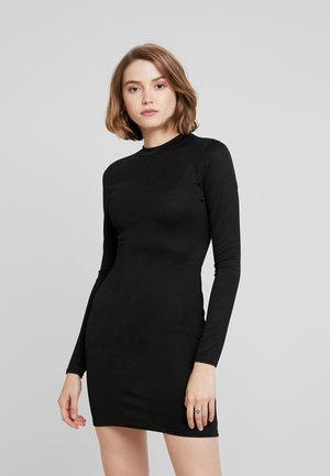 HIGH NECK LONG SLEEVE MINI DRESS - Pouzdrové šaty - black