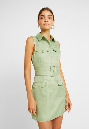 SLEEVELESS BELTED POCKET FRONT DRESS - Freizeitkleid - washed khaki