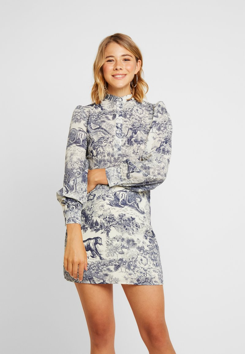 Missguided - CHINA PLATE ALINE SHIRT DRESS - Shirt dress - blue
