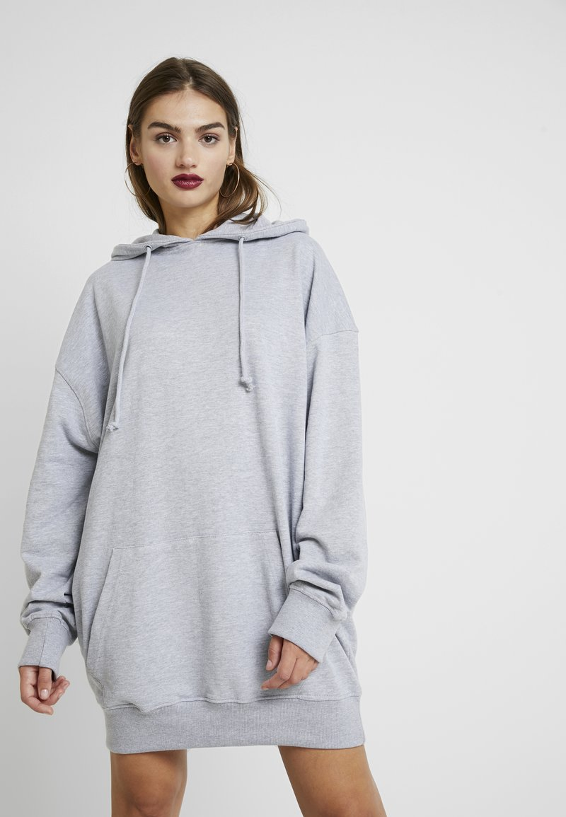 Missguided - OVERSIZED HOODED DRESS HAPPY GRAPHIC - Day dress - grey