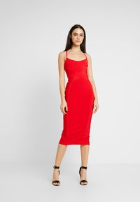 Missguided - CROSS FRONT BANDAGE CAMI DRESS - Fodralklänning - red - 0