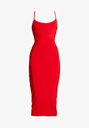 CROSS FRONT BANDAGE CAMI DRESS - Shift dress - red