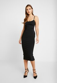 Missguided - CROSS FRONT BANDAGE CAMI DRESS - Kotelomekko - black - 0