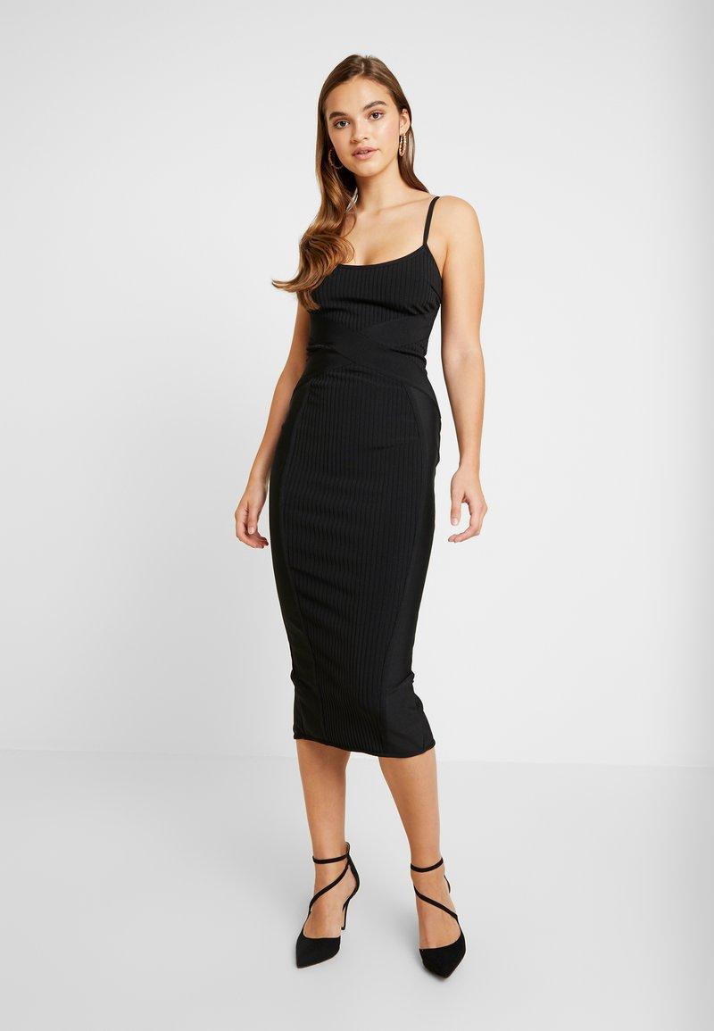 Missguided - CROSS FRONT BANDAGE CAMI DRESS - Shift dress - black